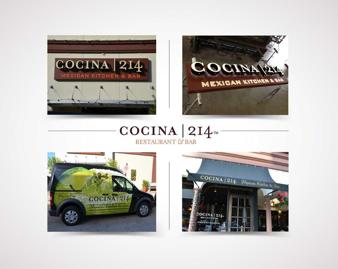 Cocina 214 restaurant signage and vehicle wrap