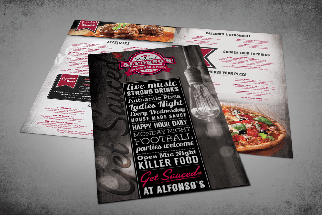 Alfonso's Sports Bar and Pizza in-house menu