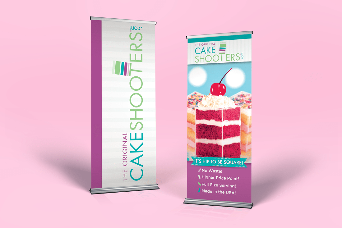 CakeShooters® tradeshow banner ups
