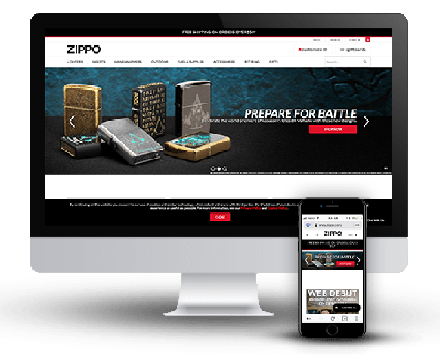 Computer and Cell phone with Zippo.com website on the screen